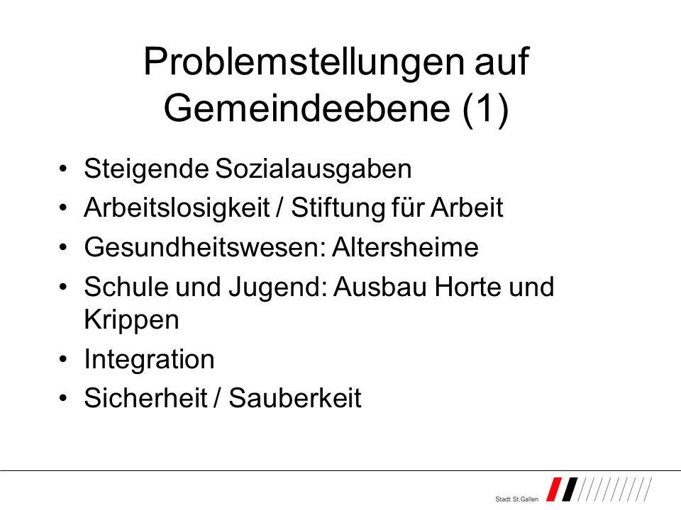 Problemstellungen auf Gemeindeebene (1) Steigende Sozialausgaben Arbeitslosigkeit / Stiftung für Arbeit Gesundheitswesen: Altersheime Schule und Jugen
