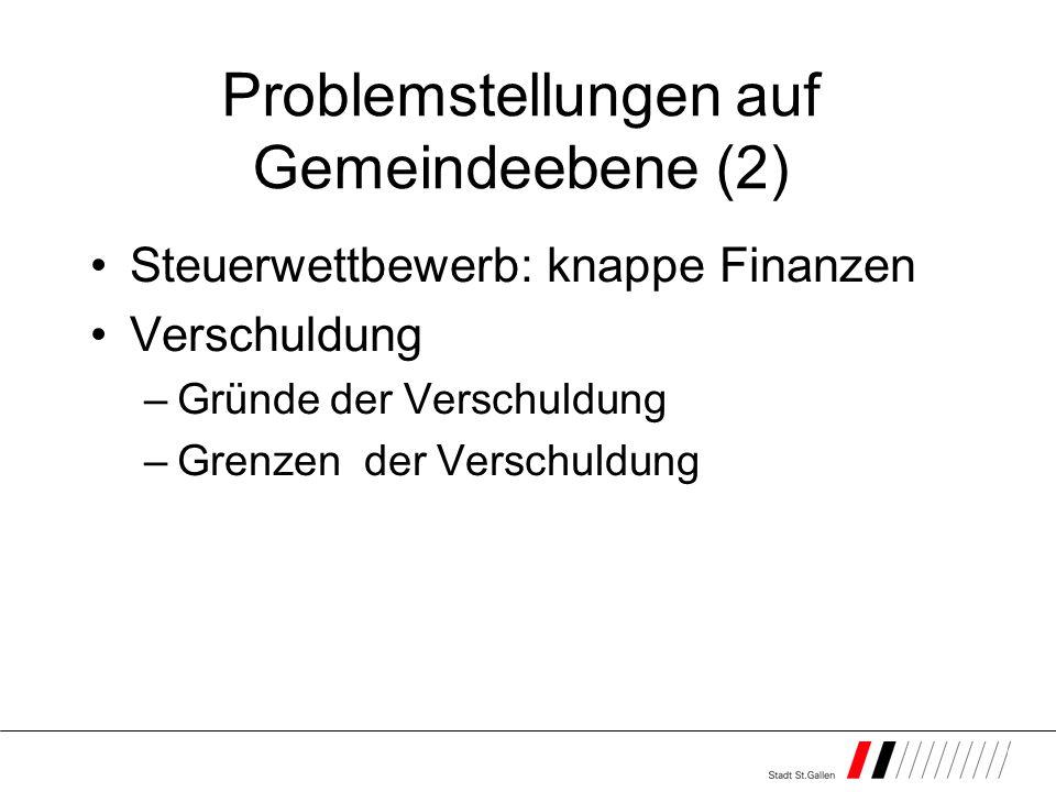 Problemstellungen auf Gemeindeebene (2) Steuerwettbewerb: knappe Finanzen Verschuldung –Gründe der Verschuldung –Grenzen der Verschuldung