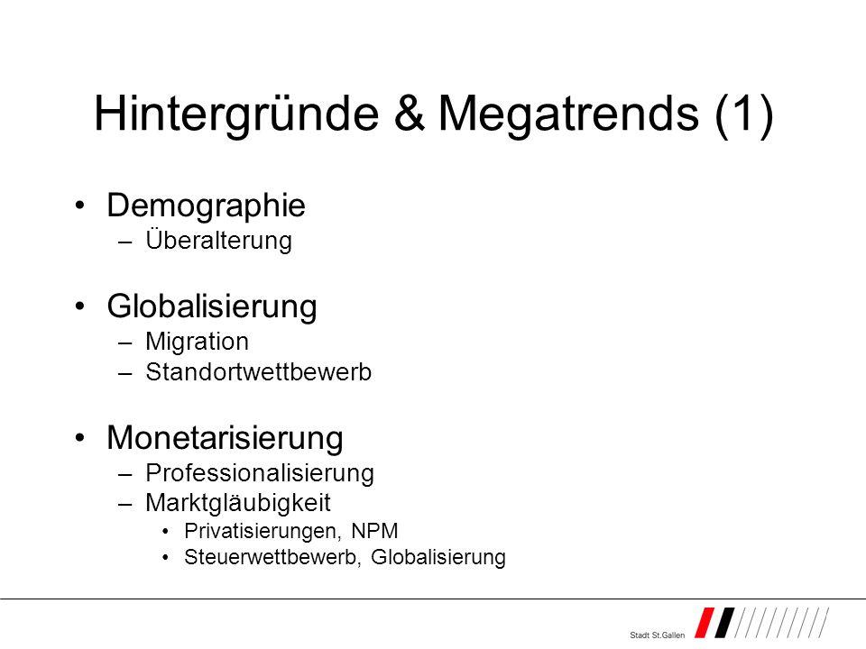Hintergründe & Megatrends (1) Demographie –Überalterung Globalisierung –Migration –Standortwettbewerb Monetarisierung –Professionalisierung –Marktgläubigkeit Privatisierungen, NPM Steuerwettbewerb, Globalisierung