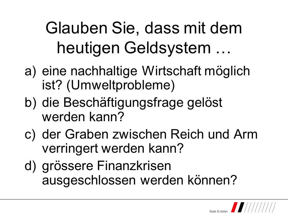 Glauben Sie, dass mit dem heutigen Geldsystem … a)eine nachhaltige Wirtschaft möglich ist? (Umweltprobleme) b)die Beschäftigungsfrage gelöst werden ka