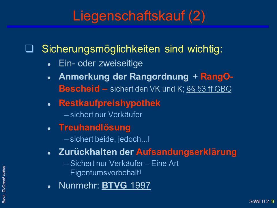 SoWi Ü 2- 8 Barta: Zivilrecht online Besonderheiten des Liegenschaftskaufs (1) qAuch formfrei gültig.