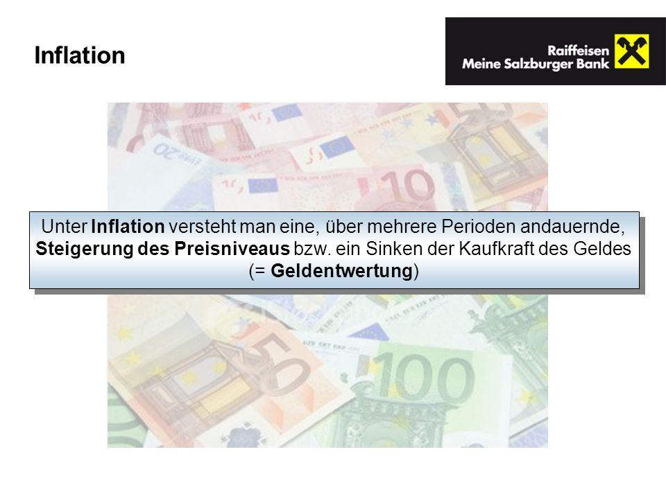 Inflation Unter Inflation versteht man eine, über mehrere Perioden andauernde, Steigerung des Preisniveaus bzw. ein Sinken der Kaufkraft des Geldes (=