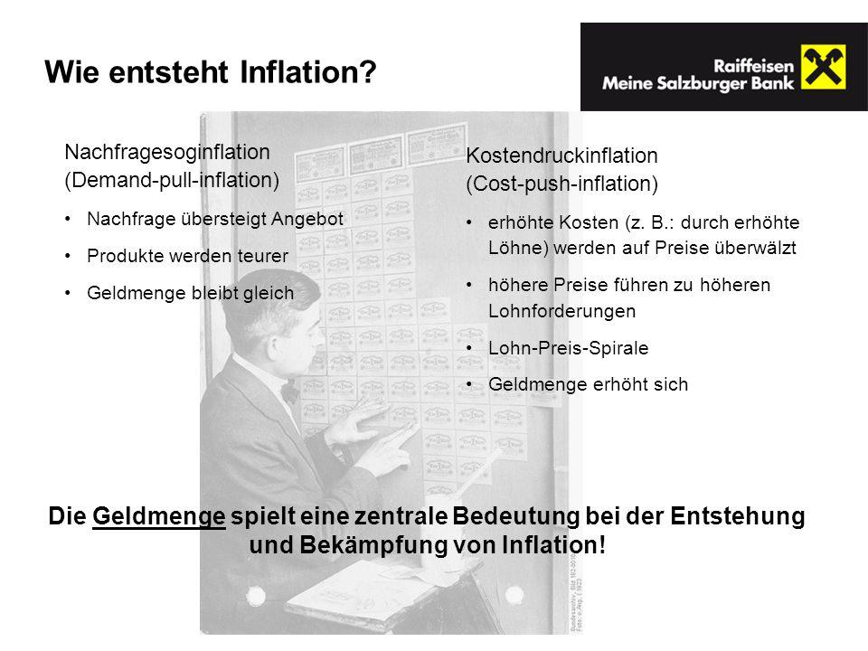 Wie entsteht Inflation? Nachfragesoginflation (Demand-pull-inflation) Nachfrage übersteigt Angebot Produkte werden teurer Geldmenge bleibt gleich Kost