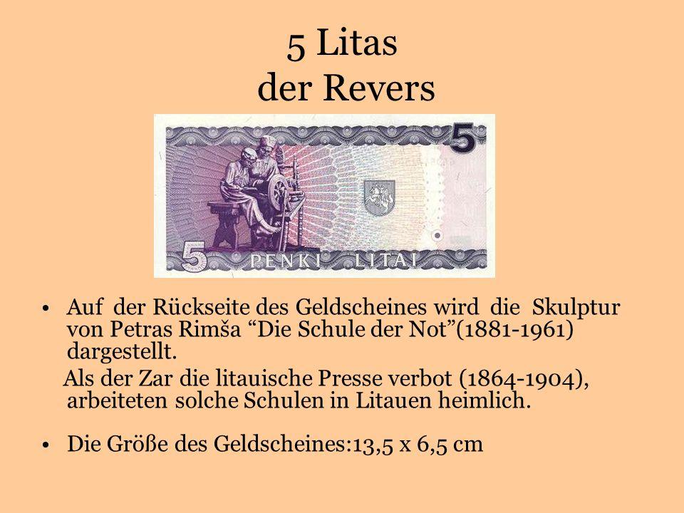5 Litas der Revers Auf der Rückseite des Geldscheines wird die Skulptur von Petras Rimša Die Schule der Not(1881-1961) dargestellt.