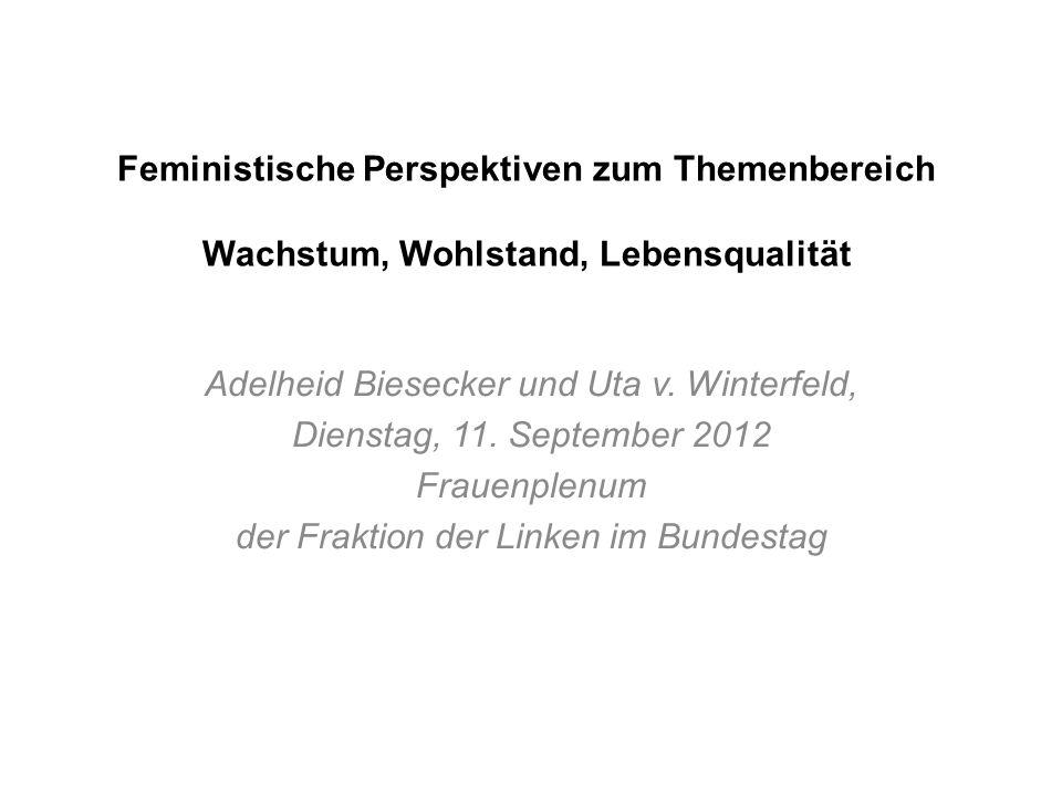 Feministische Perspektiven zum Themenbereich Wachstum, Wohlstand, Lebensqualität Adelheid Biesecker und Uta v. Winterfeld, Dienstag, 11. September 201