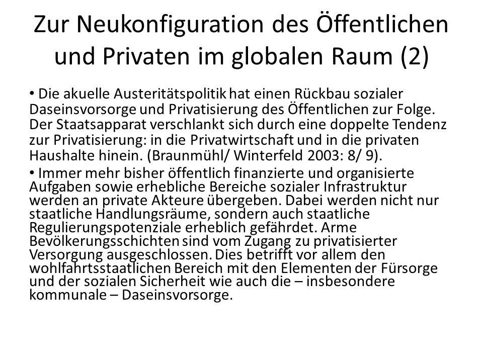 Zur Neukonfiguration des Öffentlichen und Privaten im globalen Raum (2) Die akuelle Austeritätspolitik hat einen Rückbau sozialer Daseinsvorsorge und Privatisierung des Öffentlichen zur Folge.