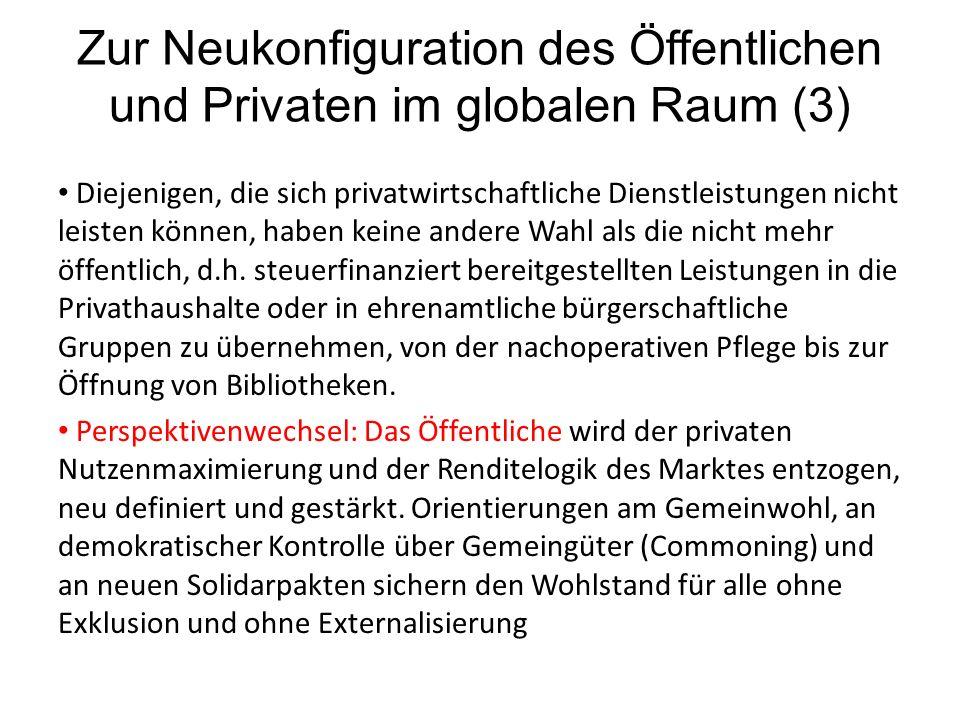 Zur Neukonfiguration des Öffentlichen und Privaten im globalen Raum (3) Diejenigen, die sich privatwirtschaftliche Dienstleistungen nicht leisten können, haben keine andere Wahl als die nicht mehr öffentlich, d.h.