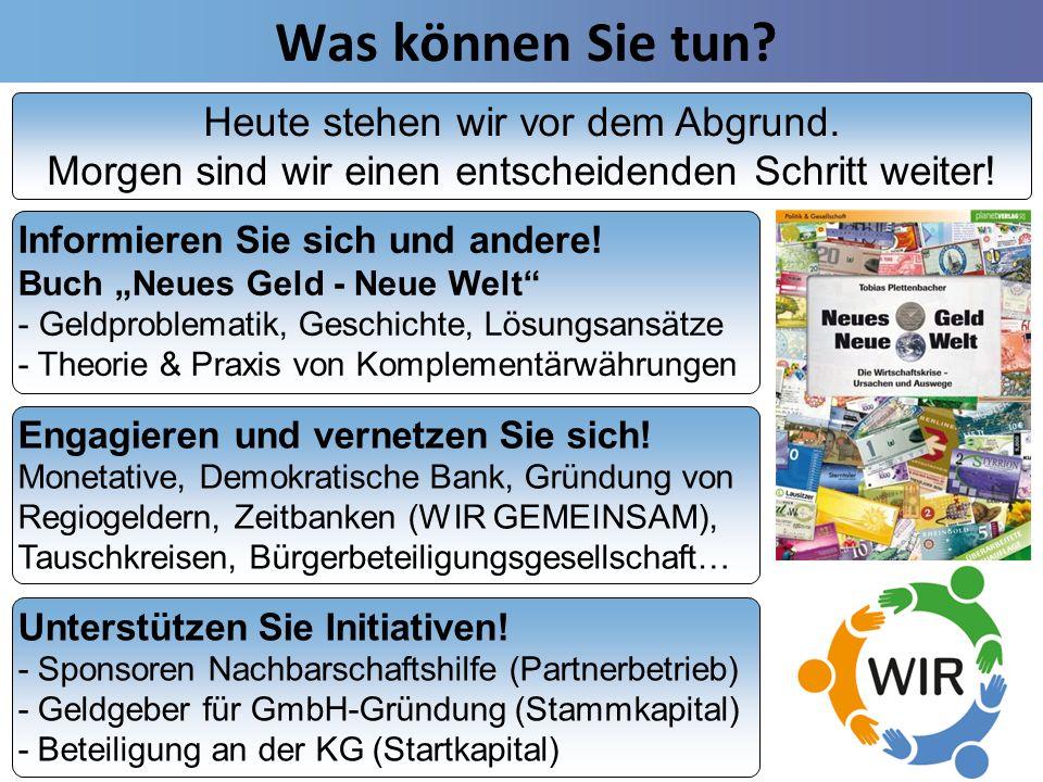 Was können Sie tun? Unterstützen Sie Initiativen! - Sponsoren Nachbarschaftshilfe (Partnerbetrieb) - Geldgeber für GmbH-Gründung (Stammkapital) - Bete