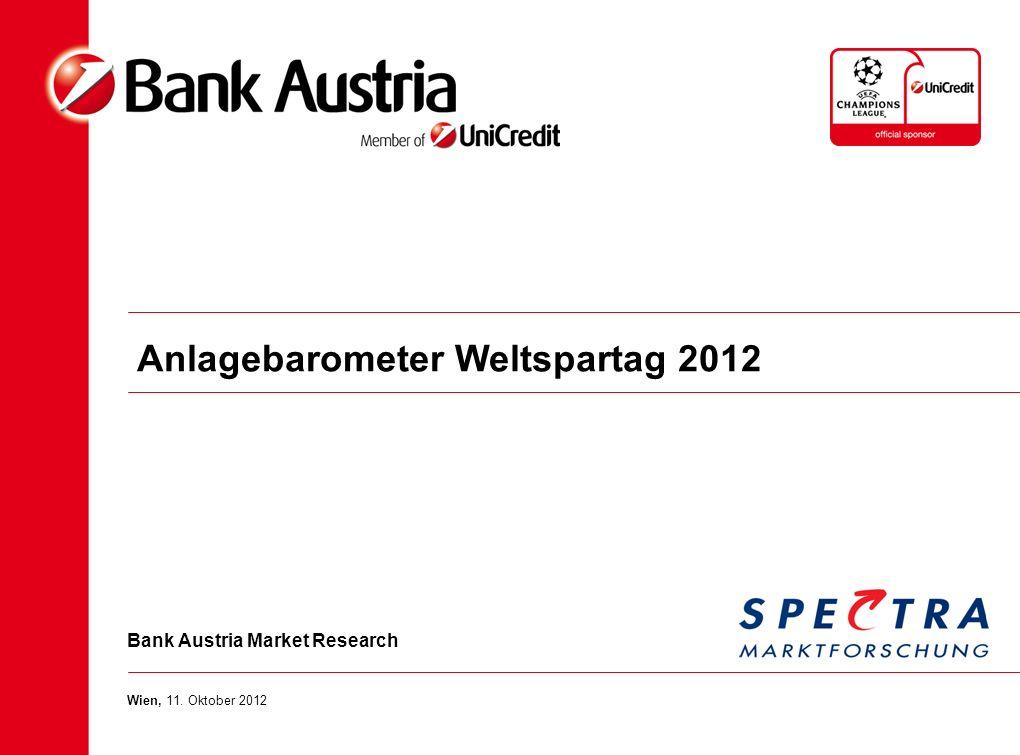 Bank Austria Market Research Wien, 11. Oktober 2012 Anlagebarometer Weltspartag 2012