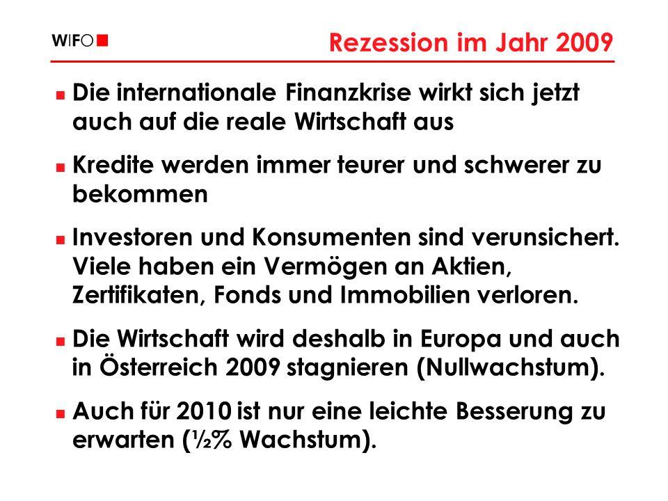 Rezession im Jahr 2009 Die internationale Finanzkrise wirkt sich jetzt auch auf die reale Wirtschaft aus Kredite werden immer teurer und schwerer zu bekommen Investoren und Konsumenten sind verunsichert.