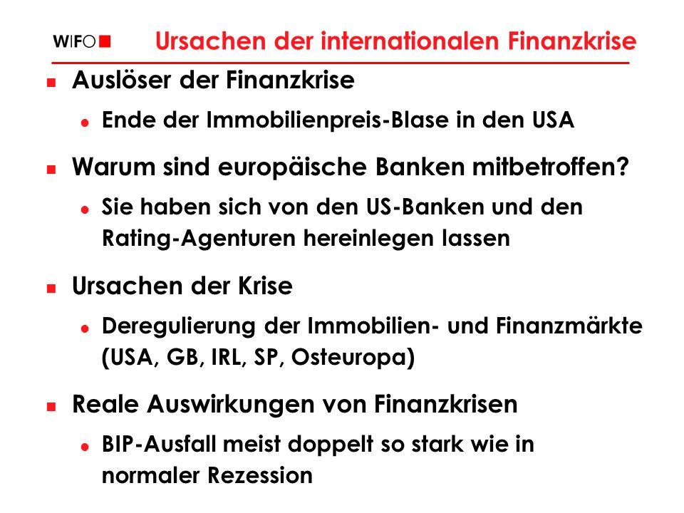 Ursachen der internationalen Finanzkrise Auslöser der Finanzkrise Ende der Immobilienpreis-Blase in den USA Warum sind europäische Banken mitbetroffen