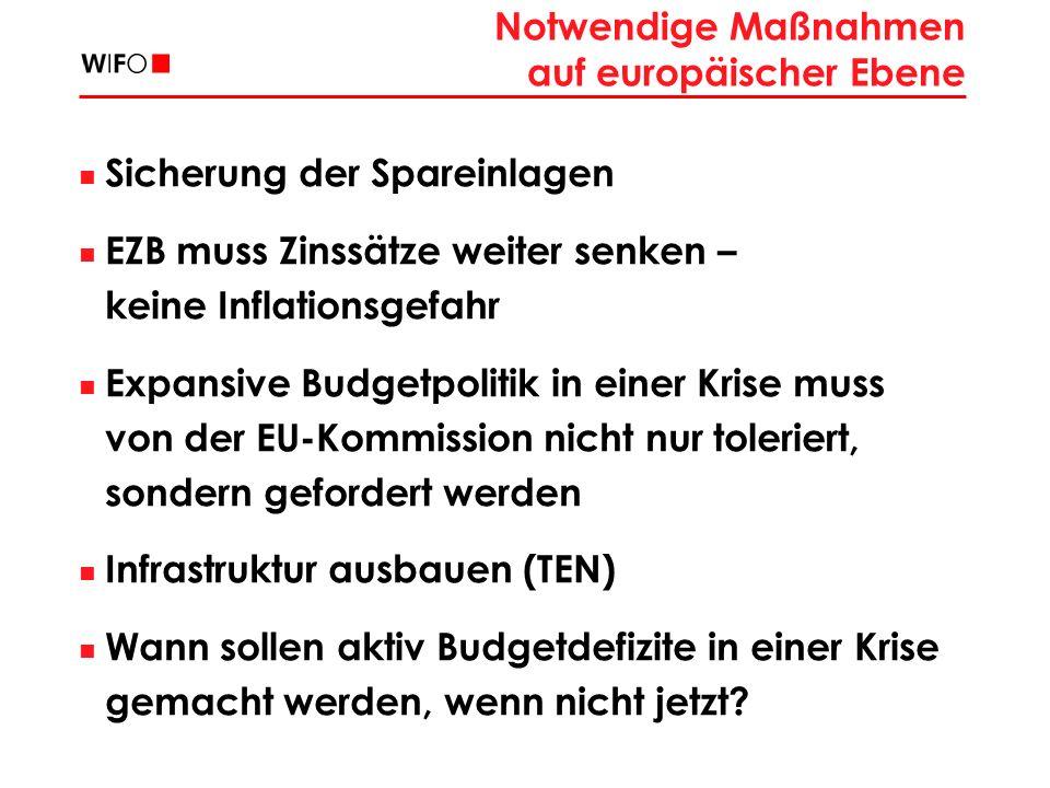 Notwendige Maßnahmen auf europäischer Ebene Sicherung der Spareinlagen EZB muss Zinssätze weiter senken – keine Inflationsgefahr Expansive Budgetpolitik in einer Krise muss von der EU-Kommission nicht nur toleriert, sondern gefordert werden Infrastruktur ausbauen (TEN) Wann sollen aktiv Budgetdefizite in einer Krise gemacht werden, wenn nicht jetzt