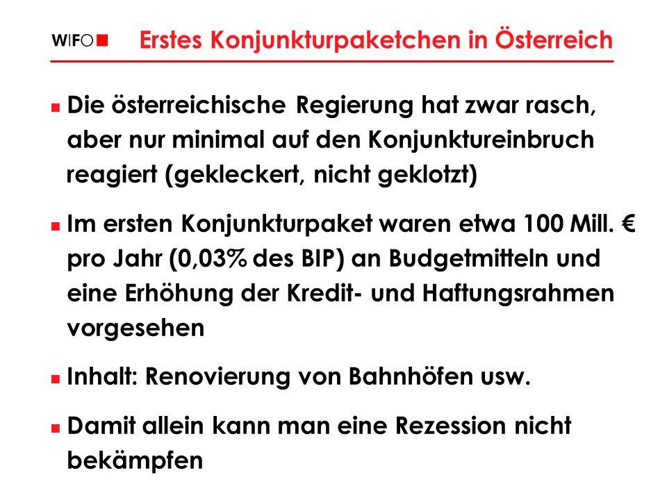 Erstes Konjunkturpaketchen in Österreich Die österreichische Regierung hat zwar rasch, aber nur minimal auf den Konjunktureinbruch reagiert (gekleckert, nicht geklotzt) Im ersten Konjunkturpaket waren etwa 100 Mill.