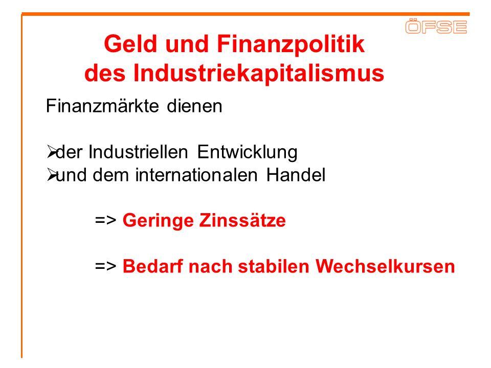 Geld und Finanzpolitik des Industriekapitalismus Finanzmärkte dienen der Industriellen Entwicklung und dem internationalen Handel => Geringe Zinssätze