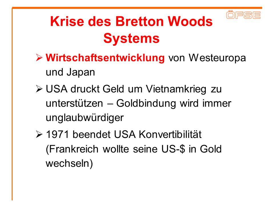 Krise des Bretton Woods Systems Wirtschaftsentwicklung von Westeuropa und Japan USA druckt Geld um Vietnamkrieg zu unterstützen – Goldbindung wird imm