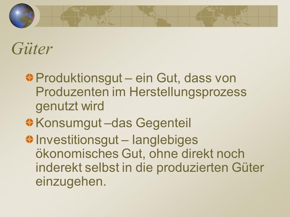 Güter Produktionsgut – ein Gut, dass von Produzenten im Herstellungsprozess genutzt wird Konsumgut –das Gegenteil Investitionsgut – langlebiges ökonom