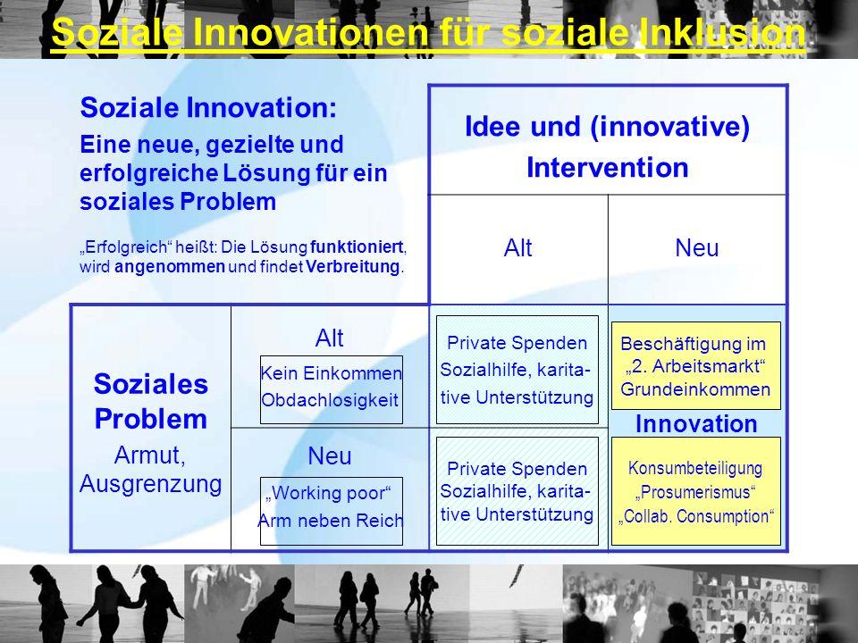Soziale Innovation: Eine neue, gezielte und erfolgreiche Lösung für ein soziales Problem Erfolgreich heißt: Die Lösung funktioniert, wird angenommen u