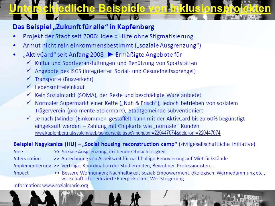 Unterschiedliche Beispiele von Inklusionsprojekten Das Beispiel Zukunft für alle in Kapfenberg Projekt der Stadt seit 2006: Idee = Hilfe ohne Stigmati