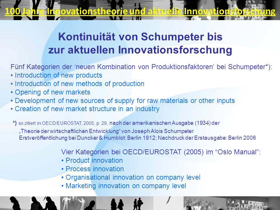 Kontinuität von Schumpeter bis zur aktuellen Innovationsforschung Fünf Kategorien der neuen Kombination von Produktionsfaktoren bei Schumpeter*): Intr