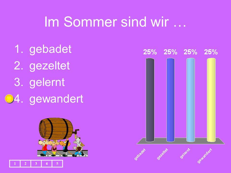 Im Sommer sind wir … 1.gebadet 2.gezeltet 3.gelernt 4.gewandert 12345