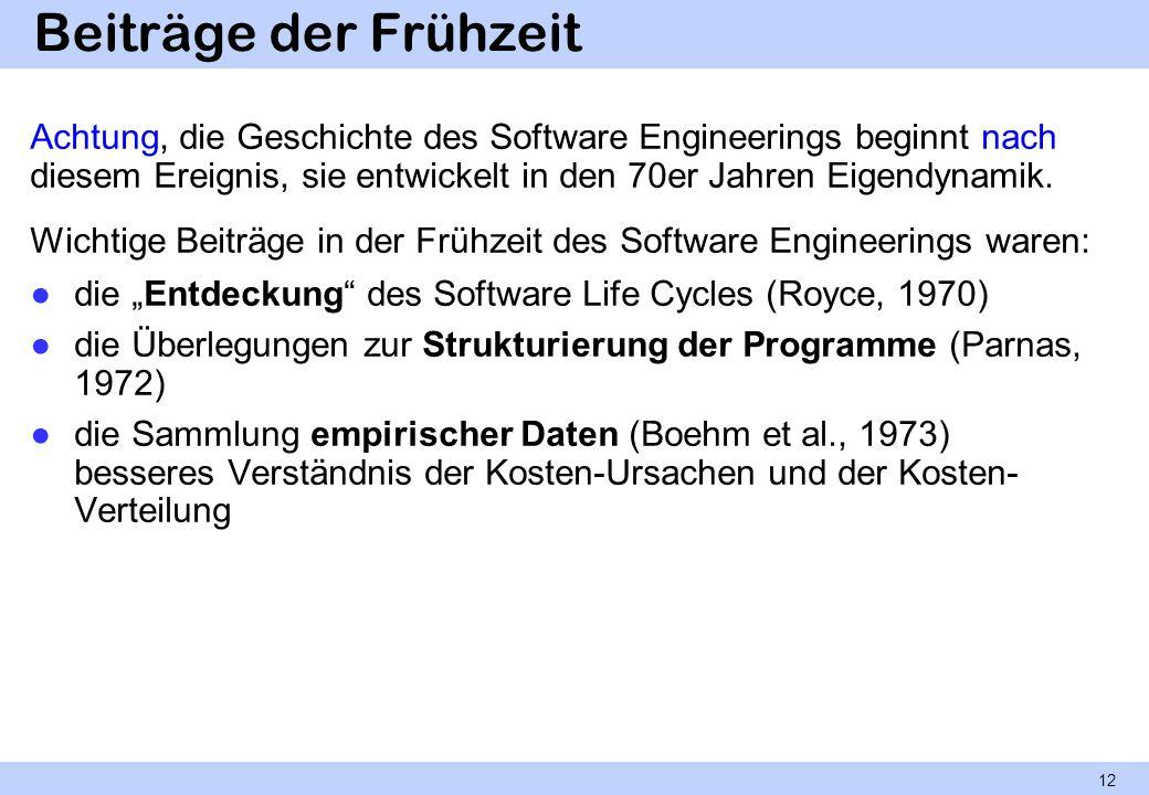 Beiträge der Frühzeit Achtung, die Geschichte des Software Engineerings beginnt nach diesem Ereignis, sie entwickelt in den 70er Jahren Eigendynamik.