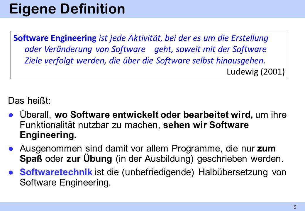 Eigene Definition Das heißt: Überall, wo Software entwickelt oder bearbeitet wird, um ihre Funktionalität nutzbar zu machen, sehen wir Software Engine