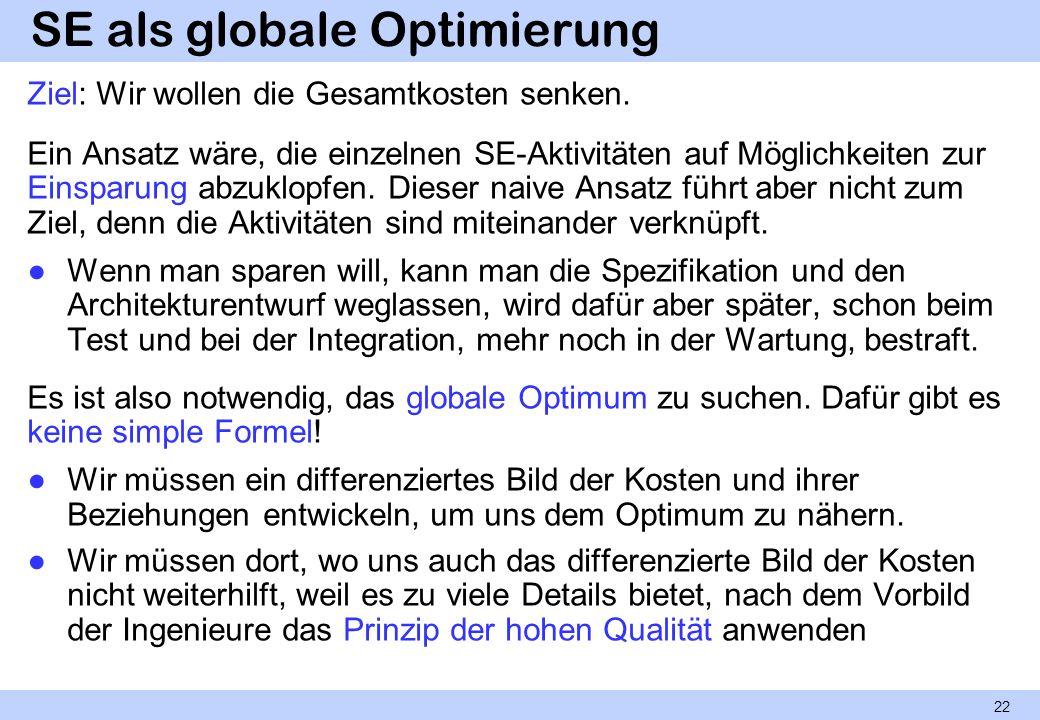 SE als globale Optimierung Ziel: Wir wollen die Gesamtkosten senken. Ein Ansatz wäre, die einzelnen SE-Aktivitäten auf Möglichkeiten zur Einsparung ab