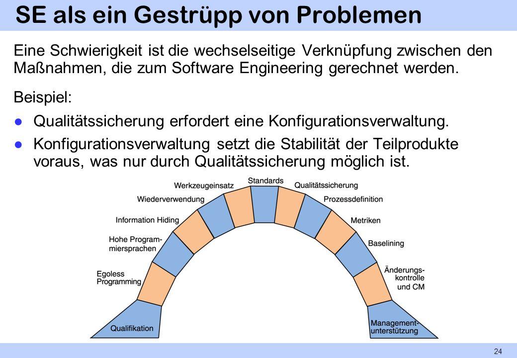 SE als ein Gestrüpp von Problemen Eine Schwierigkeit ist die wechselseitige Verknüpfung zwischen den Maßnahmen, die zum Software Engineering gerechnet