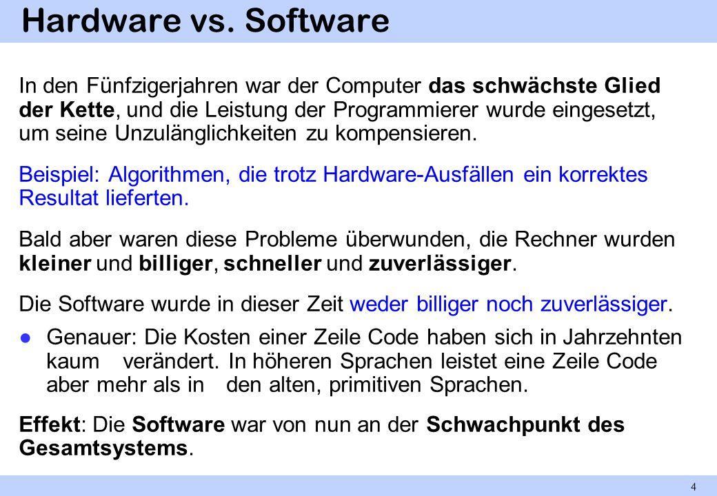 Hardware vs. Software In den Fünfzigerjahren war der Computer das schwächste Glied der Kette, und die Leistung der Programmierer wurde eingesetzt, um