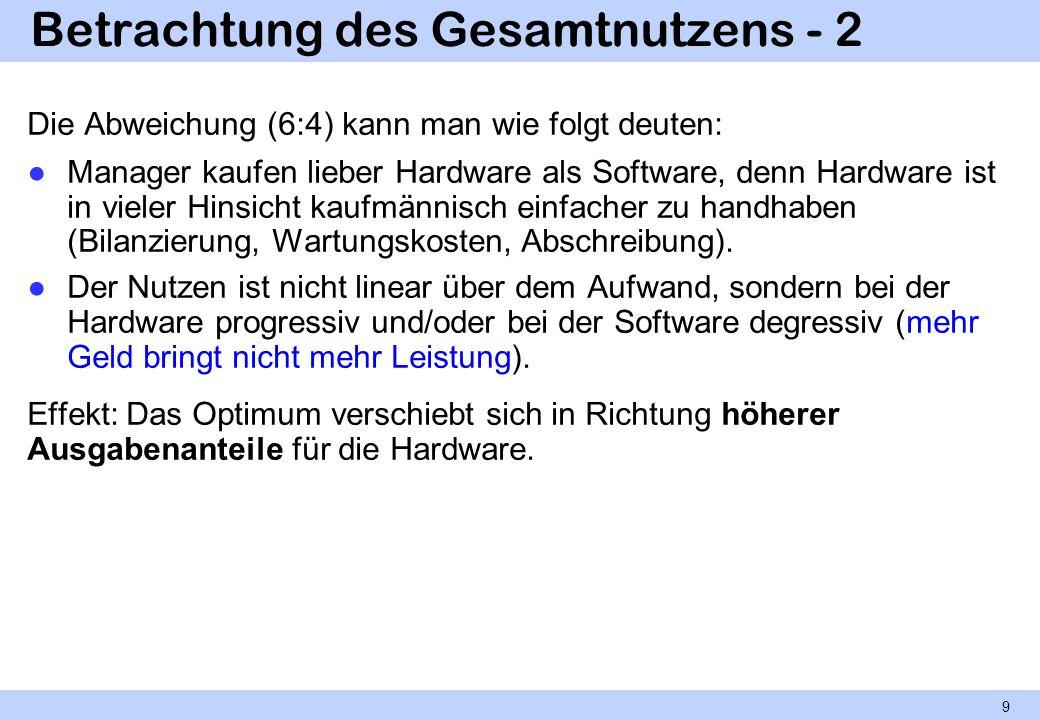 Betrachtung des Gesamtnutzens - 2 Die Abweichung (6:4) kann man wie folgt deuten: Manager kaufen lieber Hardware als Software, denn Hardware ist in vi