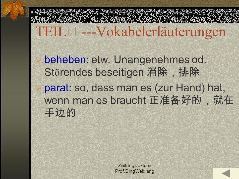 Zeitungslektüre Prof.DingWeixiang TEIL ---Vokabelerläuterungen beheben: etw.