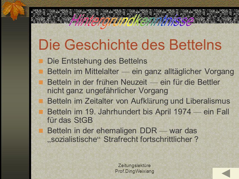 Zeitungslektüre Prof.DingWeixiang Fragen zum Text 1.