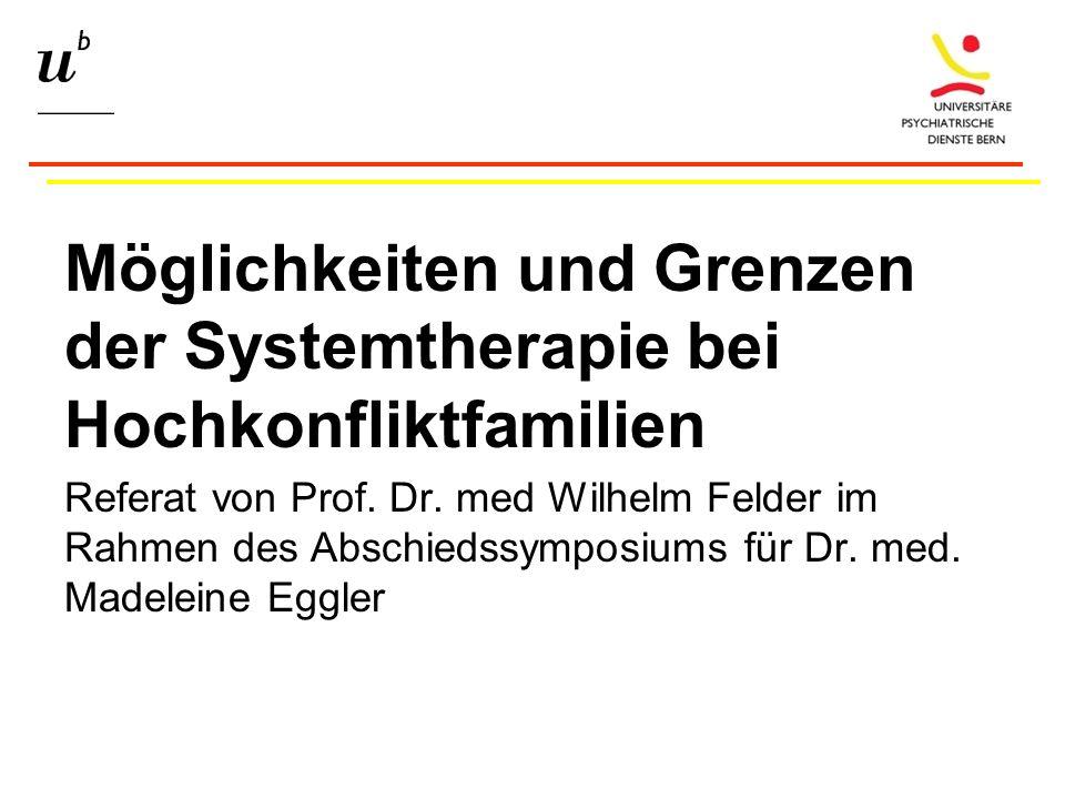 Möglichkeiten und Grenzen der Systemtherapie bei Hochkonfliktfamilien Referat von Prof.