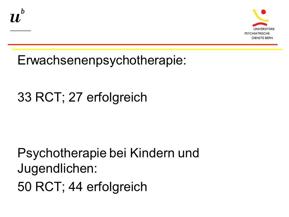 Erwachsenenpsychotherapie: 33 RCT; 27 erfolgreich Psychotherapie bei Kindern und Jugendlichen: 50 RCT; 44 erfolgreich