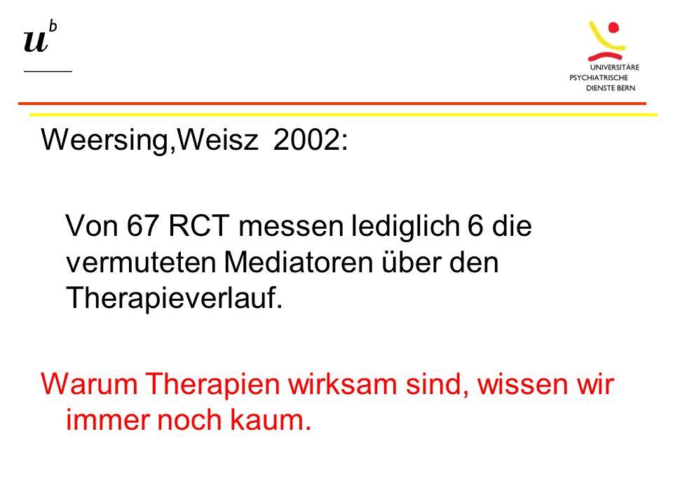 Weersing,Weisz 2002: Von 67 RCT messen lediglich 6 die vermuteten Mediatoren über den Therapieverlauf.