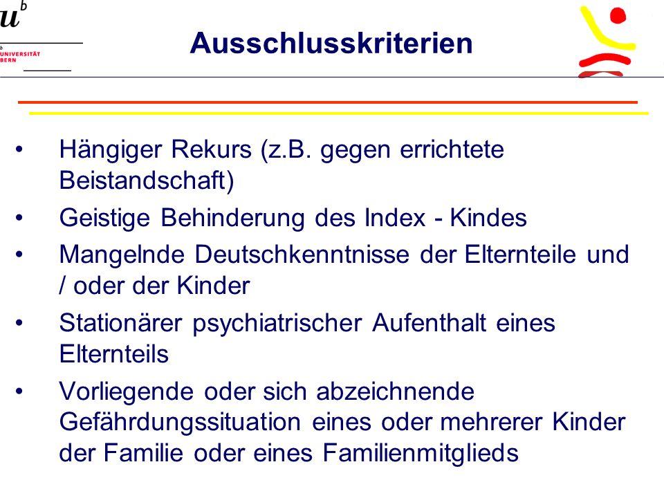 Ausschlusskriterien Hängiger Rekurs (z.B.