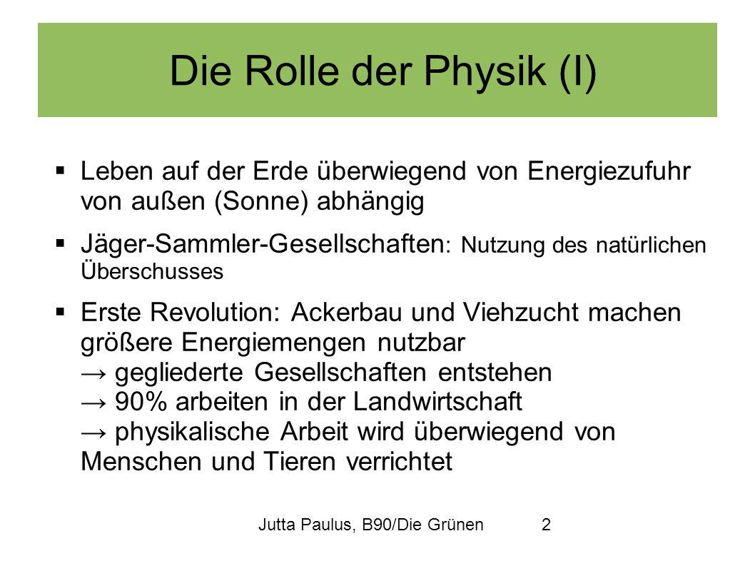Jutta Paulus, B90/Die Grünen2 Die Rolle der Physik (I) Leben auf der Erde überwiegend von Energiezufuhr von außen (Sonne) abhängig Jäger-Sammler-Gesel