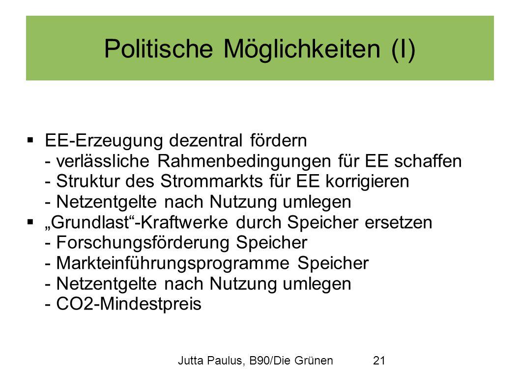 Jutta Paulus, B90/Die Grünen21 Politische Möglichkeiten (I) EE-Erzeugung dezentral fördern - verlässliche Rahmenbedingungen für EE schaffen - Struktur