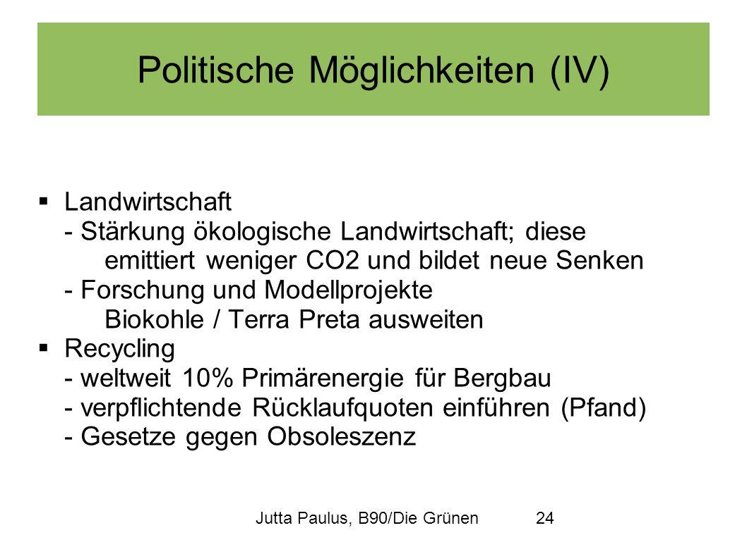 Jutta Paulus, B90/Die Grünen24 Politische Möglichkeiten (IV) Landwirtschaft - Stärkung ökologische Landwirtschaft; diese emittiert weniger CO2 und bil