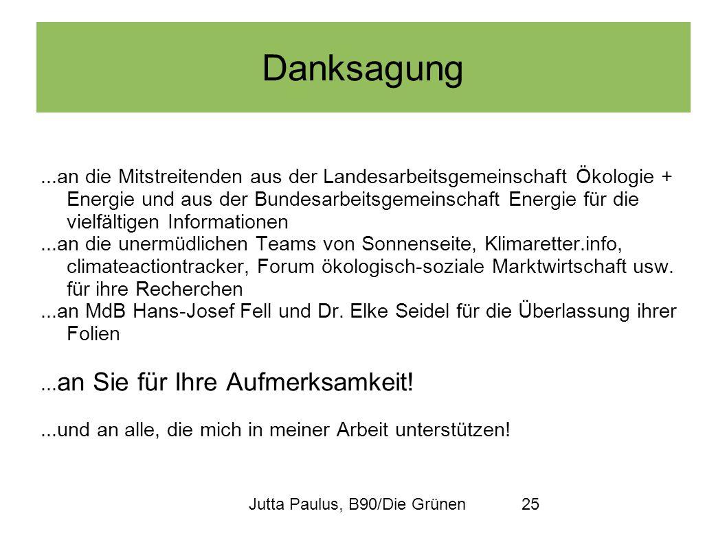 Jutta Paulus, B90/Die Grünen25 Danksagung...an die Mitstreitenden aus der Landesarbeitsgemeinschaft Ökologie + Energie und aus der Bundesarbeitsgemein