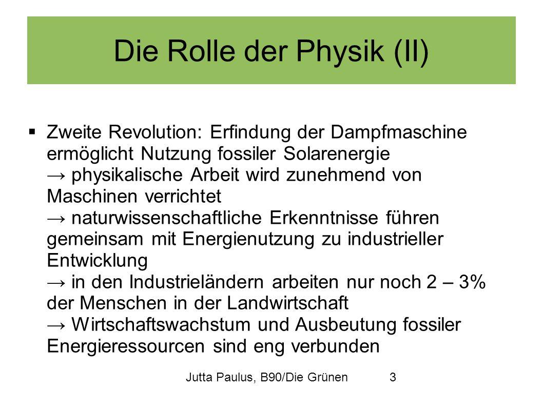 Jutta Paulus, B90/Die Grünen3 Die Rolle der Physik (II) Zweite Revolution: Erfindung der Dampfmaschine ermöglicht Nutzung fossiler Solarenergie physik