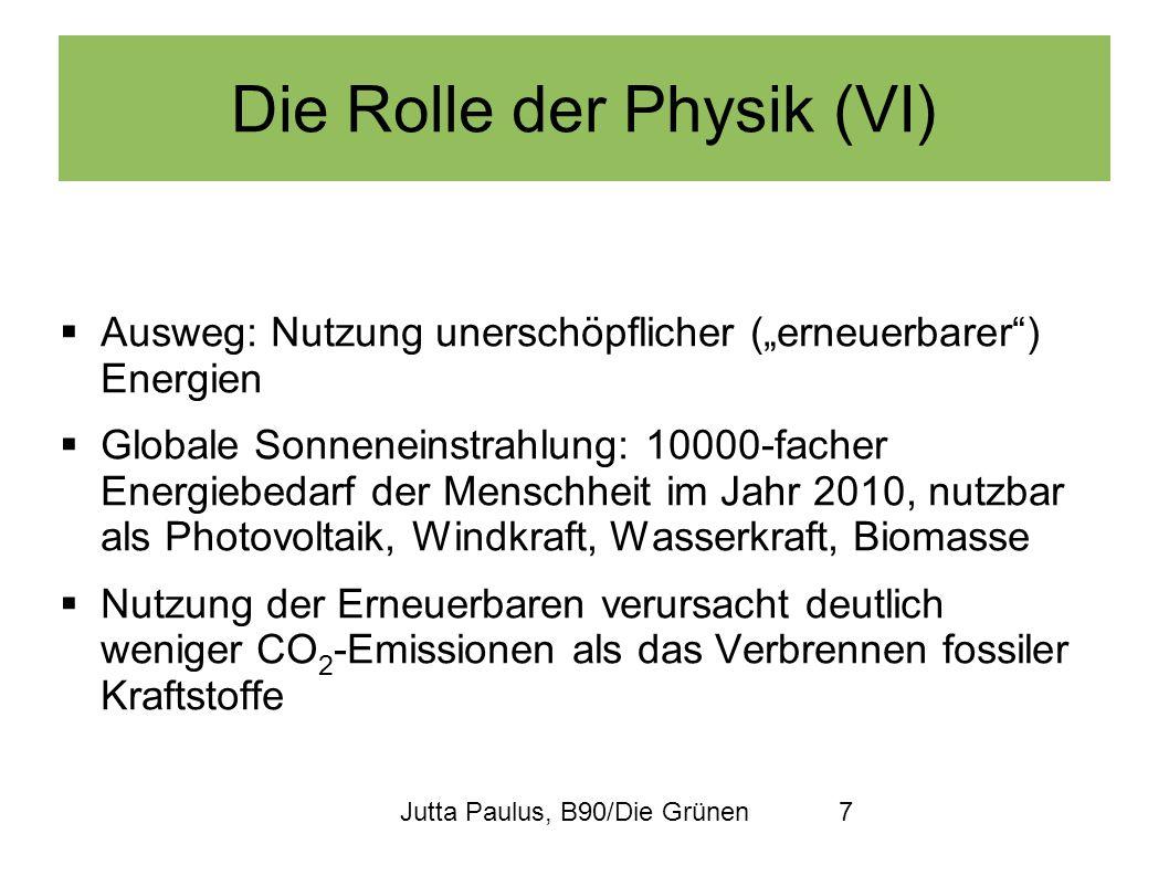 Jutta Paulus, B90/Die Grünen7 Die Rolle der Physik (VI) Ausweg: Nutzung unerschöpflicher (erneuerbarer) Energien Globale Sonneneinstrahlung: 10000-fac