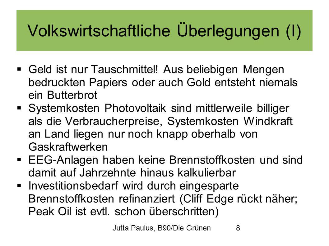 Jutta Paulus, B90/Die Grünen8 Volkswirtschaftliche Überlegungen (I) Geld ist nur Tauschmittel! Aus beliebigen Mengen bedruckten Papiers oder auch Gold