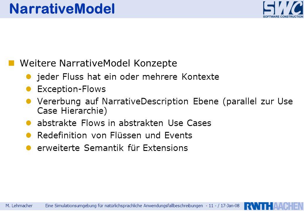 M. LehmacherEine Simulationsumgebung für natürlichsprachliche Anwendungsfallbeschreibungen - 11 - / 17-Jan-08 NarrativeModel Weitere NarrativeModel Ko
