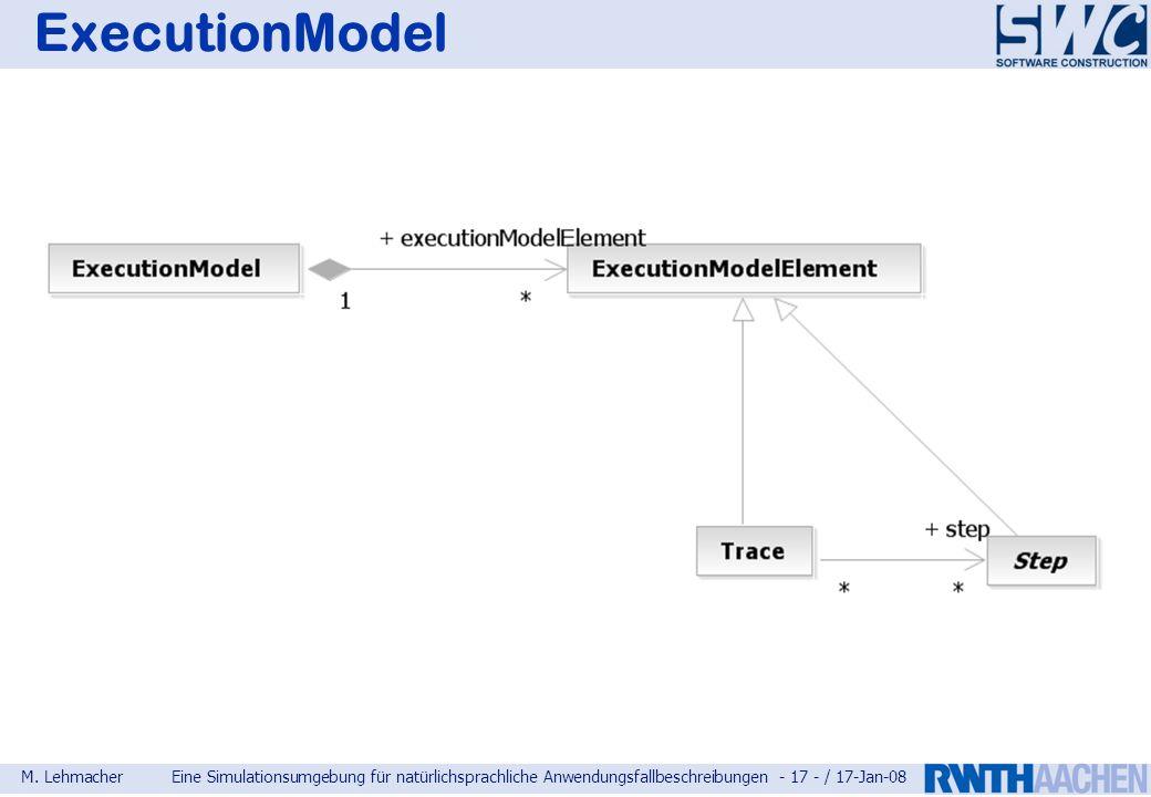 M. LehmacherEine Simulationsumgebung für natürlichsprachliche Anwendungsfallbeschreibungen - 17 - / 17-Jan-08 ExecutionModel