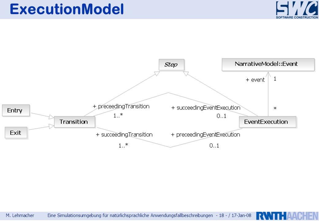 M. LehmacherEine Simulationsumgebung für natürlichsprachliche Anwendungsfallbeschreibungen - 18 - / 17-Jan-08 ExecutionModel