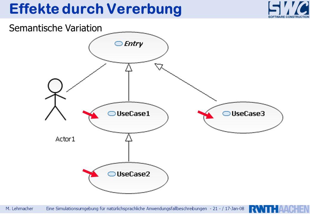 M. LehmacherEine Simulationsumgebung für natürlichsprachliche Anwendungsfallbeschreibungen - 21 - / 17-Jan-08 Effekte durch Vererbung Semantische Vari