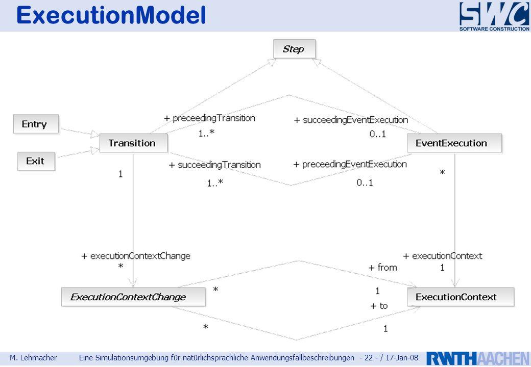 M. LehmacherEine Simulationsumgebung für natürlichsprachliche Anwendungsfallbeschreibungen - 22 - / 17-Jan-08 ExecutionModel