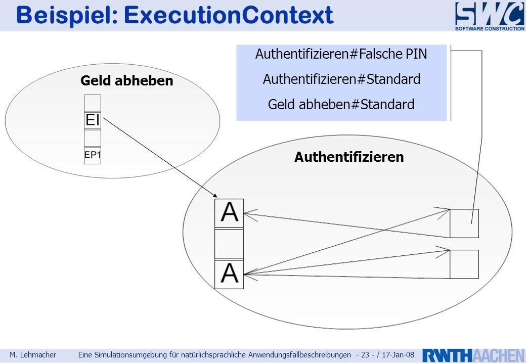 M. LehmacherEine Simulationsumgebung für natürlichsprachliche Anwendungsfallbeschreibungen - 23 - / 17-Jan-08 Beispiel: ExecutionContext Authentifizie