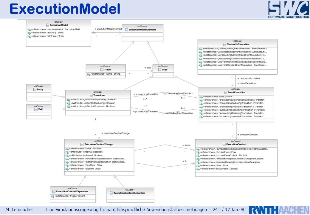 M. LehmacherEine Simulationsumgebung für natürlichsprachliche Anwendungsfallbeschreibungen - 24 - / 17-Jan-08 ExecutionModel